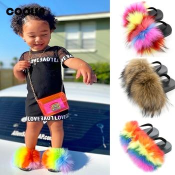 Summer Children Fur Slippers Kids
