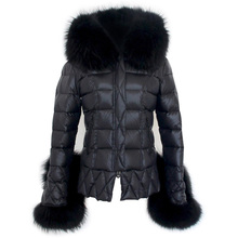 2020 new Faye Wong same style star super big raccoon fur collar slim down jacket short women winter