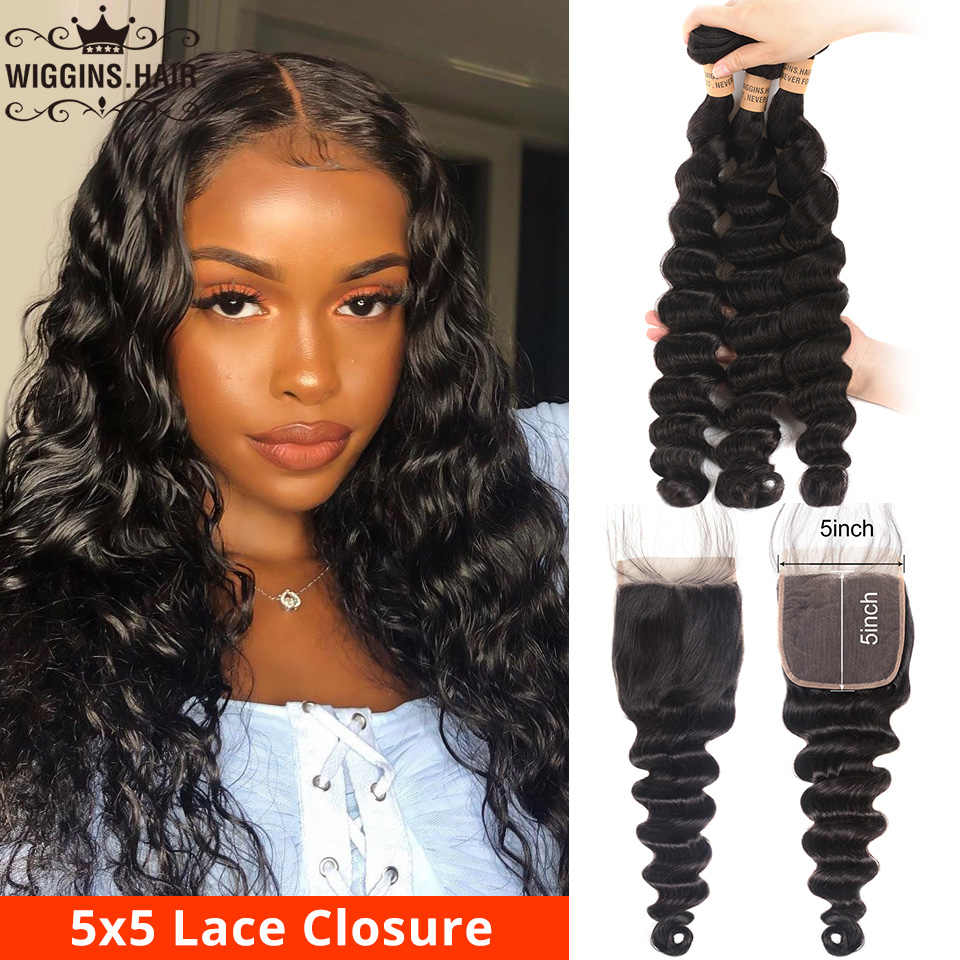 Loose Deep Wave 3 Bundles With 5x5 Closure Preplucked Wiggins Brazilian Human Hair Bundles With Closure Natural Remy Swiss Lace