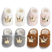 Cute Newborn Shoes Coral Velvet Point Glue Sole Magic Sticker Baby Winter Crown Furry Walking Toddler Non-slip Crib Walkers