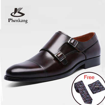 Men Genuine cow leather brogue wedding Business shoes mens casual flats shoes 2019 black vintage oxford men's monk shoes - DISCOUNT ITEM  49% OFF All Category