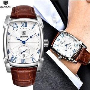 Image 1 - BENYAR zegarki mężczyźni luksusowa marka kwarcowy mężczyzna Wist zegarki skórzany wojskowy pasek Casual kwadratowy zegarek wodoodporny Reloj De Hombre