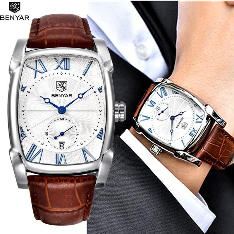 Benyar Watches Men Luxury Brand Quartz Mens Wist Watches Military Leather Strap Casual Square Watch Waterproof Reloj De Hombre