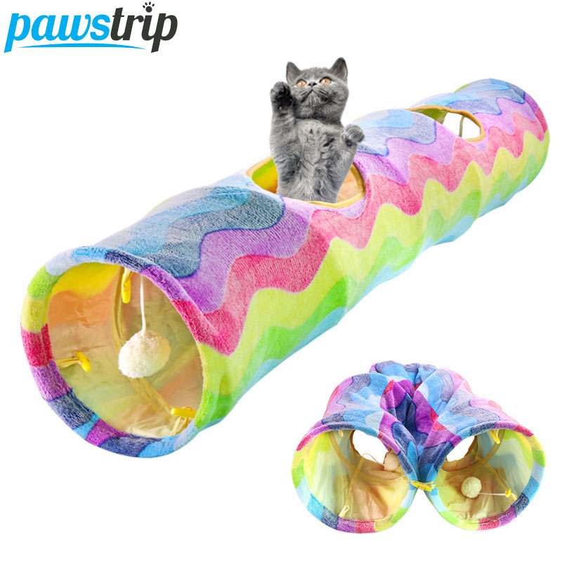 Collapsible Cat Tunnel Tube Toys For Cats Kitten Training Interactive Cat Toys Pet Toy Rabbit Tunnel Cat Cave Tube 117*26cm image