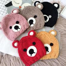 Kids Children Child Baby Skullies Beanies Boy Girl Hat Cap Winter Solid Cartoon Bear Ear Warm Thick Elastic Fashion Accessories