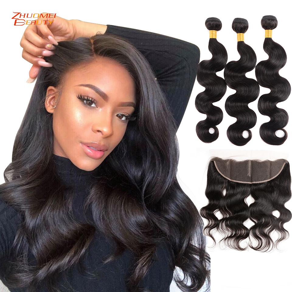Brazilian Body Wave 3 Bundles With Frontal Human Hair Bundles With Closure 13x4 Lace Frontal Closure With Bundles Remy Hair