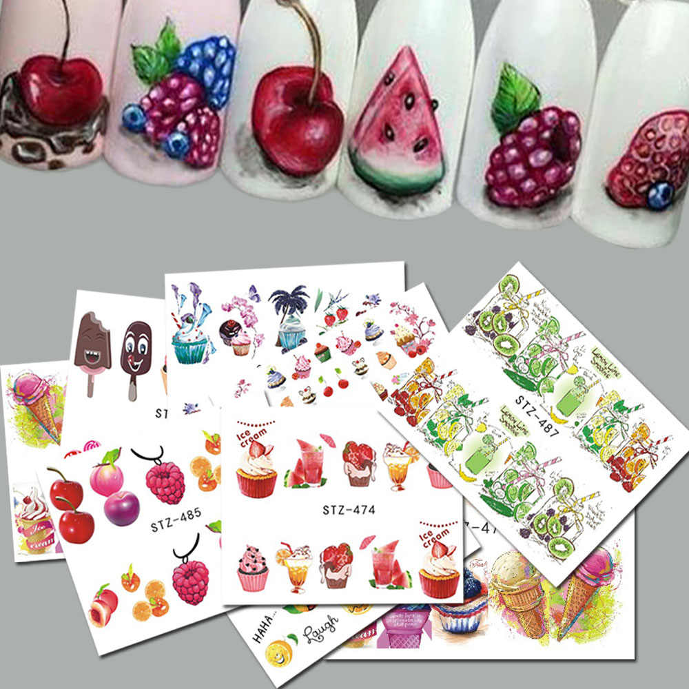 18 Pcs Sweets Ijs Zomer Nail Sticker Gemengde Kleurrijke Fruit Diy Water Decals Nail Art Decoraties Manicure Tool TRSTZ471-488
