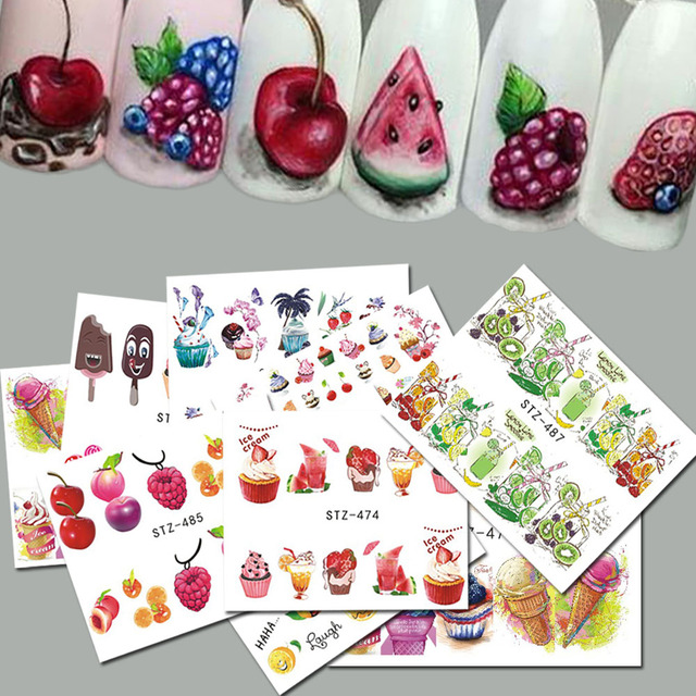 18pcs Sweets Ice Cream Summer Nail Sticker Mixed Colorful Fruit DIY Water Decals Nail Art Decorations Manicure Tool TRSTZ471 488