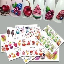 Adesivo de creme de gelo para unhas, 18 peças, misturado, colorido, frutas, água, decalques, arte de unhas, ferramenta de manicure TRSTZ471 488