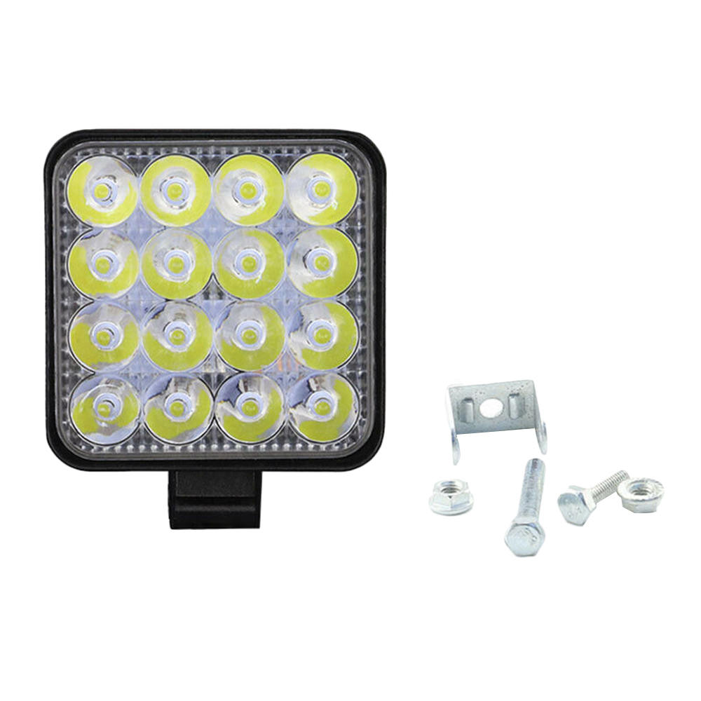 Квадратный светодиодный рабочий светильник 48 Вт, от 12 до 24 В, прожектор для внедорожника, грузовика, внедорожника, 4WD