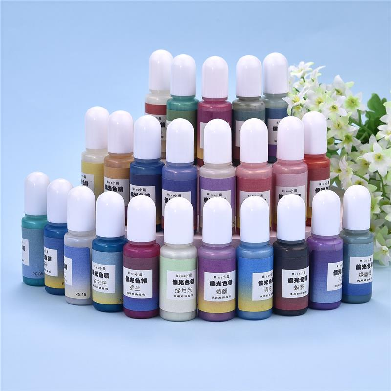 24 Color 10g/Bottle Fruit Polarized Color Resin Pigments DIY Pearlescent Epoxy Resin Pigment Liquid Colorant Resin Dyestuff