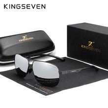 Kingseven óculos de sol unissex polarizado, óculos de sol de alumínio com lente espelhada e polarizada, vintage