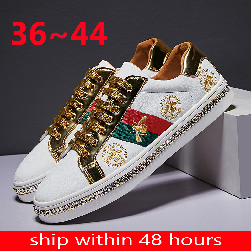 Genuine Leather 2020 Couple Running Bee Gold Mens Sports Shoes Men Casual Male Sneakers Chunky Zapatos De Mujer Hombre Women