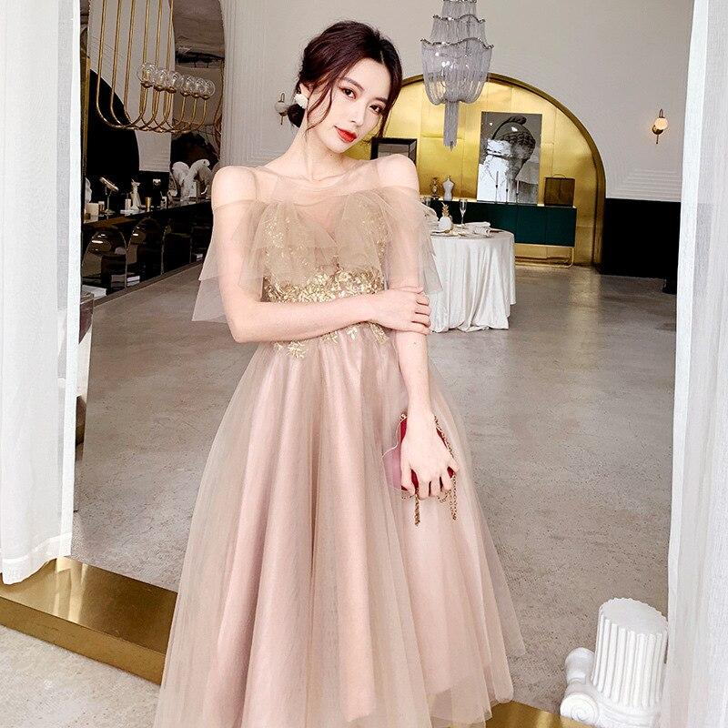 Bridesmaid Dress Fairy Elegant 2019 New Style Autumn Sister Group Formal Dress Mid-length Best Friend Slimming Graduation Women'