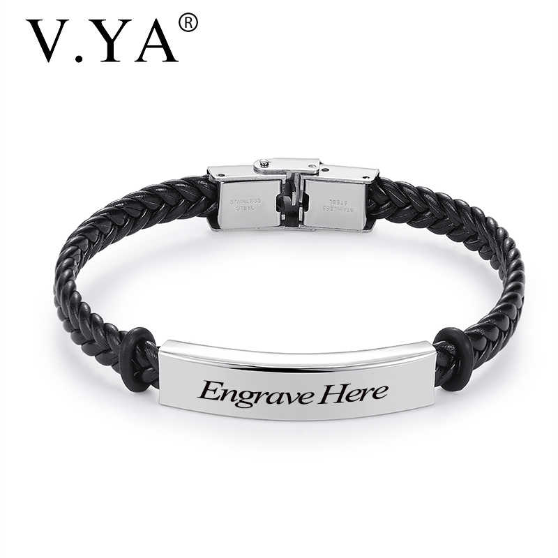 V.YA Fashion Custom logo Name Engrave Leather bracelet Stainless Steel Bracelets For Women Men Jewelry   accessories Christmas