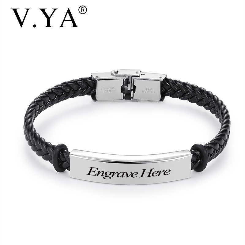 V.YA Fashion własne logo nazwa wygrawerować skórzaną bransoletkę bransoletki ze stali nierdzewnej dla kobiet mężczyzn biżuteria akcesoria świąteczne