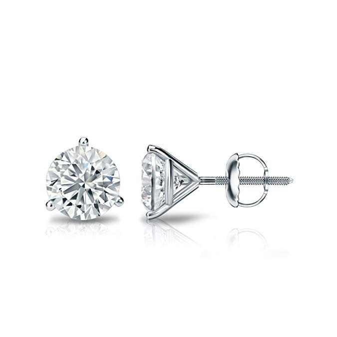 ง่ายขนาดเล็กรอบ Zircon Stud ต่างหู Elegant Silver สีต่างหูสำหรับผู้หญิงคลาสสิกรักหมั้นต่างหู