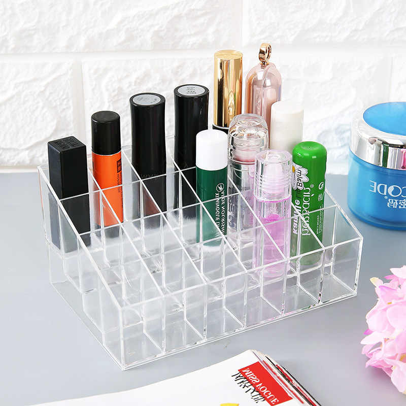 Transparante 24 Grids Acryl Up Organizer Lipstick Holder Display Rack Case Cosmetische Nagellak Make Up Organizer Tool