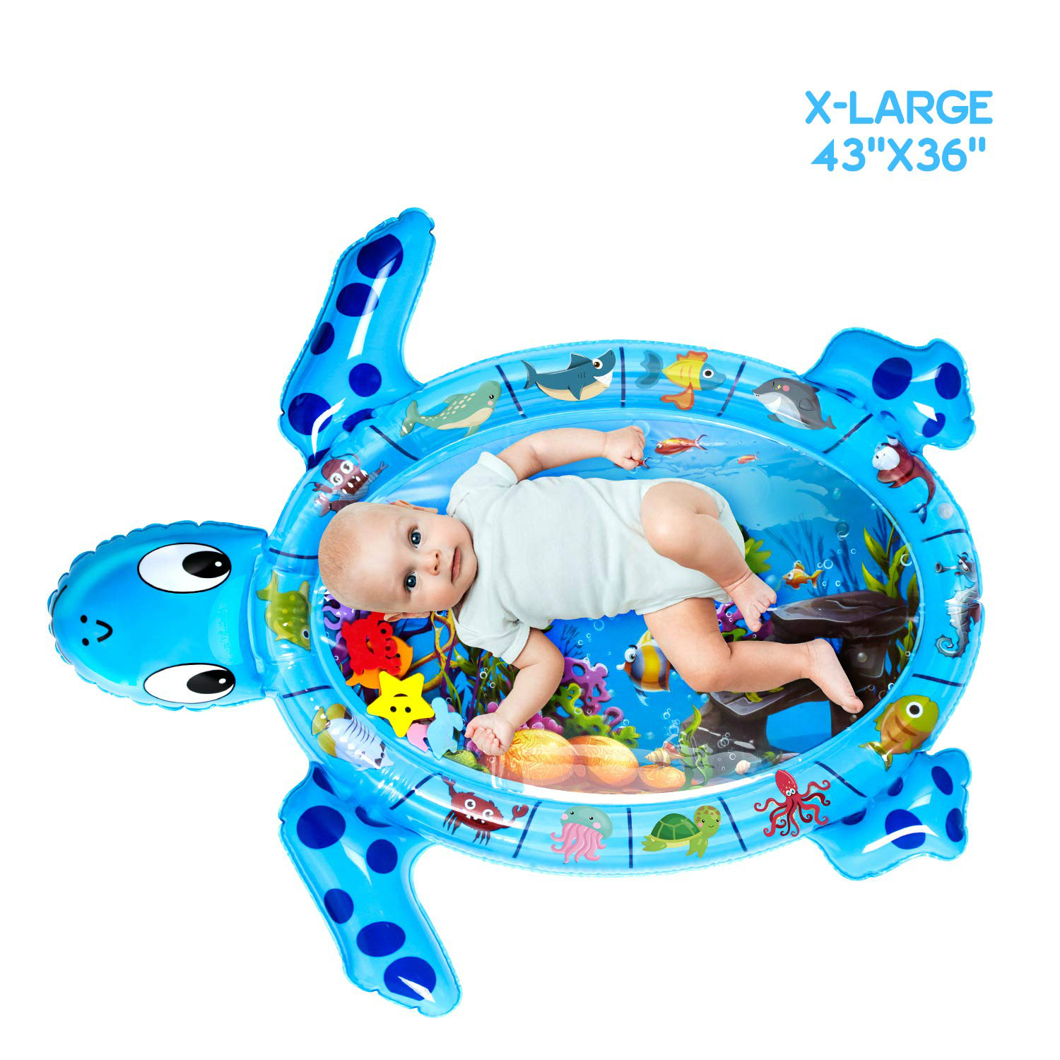 Tummy Time Mat With Wrist Rattles Set X-Large Inflatable Water Play Mat, Turtle Shape Newborn Baby Mat For 3 6 9 12 Months