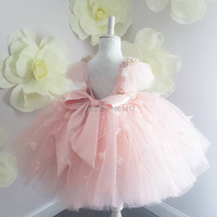 Pink Lace Flower Girl Dresses Kids First Communion Girl Dresses for Party Wedding Knee Length Ball Gown