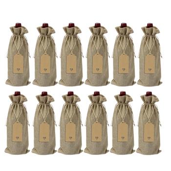 SHGO HOT-12 sztuk juta torby na wino juta torebki do butelek na wino ze sznurkiem wielokrotnego użytku skrzynka na wino na prezent torby z metkami na imprezę niewidomych Tas tanie i dobre opinie CN (pochodzenie) Europejska