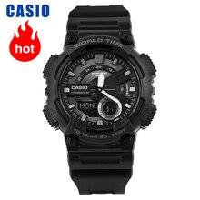 Casio นาฬิกาชุดกีฬาแฟชั่นแบบ Dual Multi Function นาฬิกาผู้ชายอิเล็กทรอนิกส์ AEQ 110W 1B