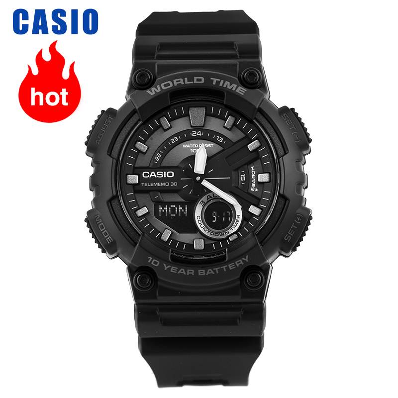 Casio Watch Sports Series Fashion Dual Display Multi-function Electronic Men's Watch AEQ-110W-1B