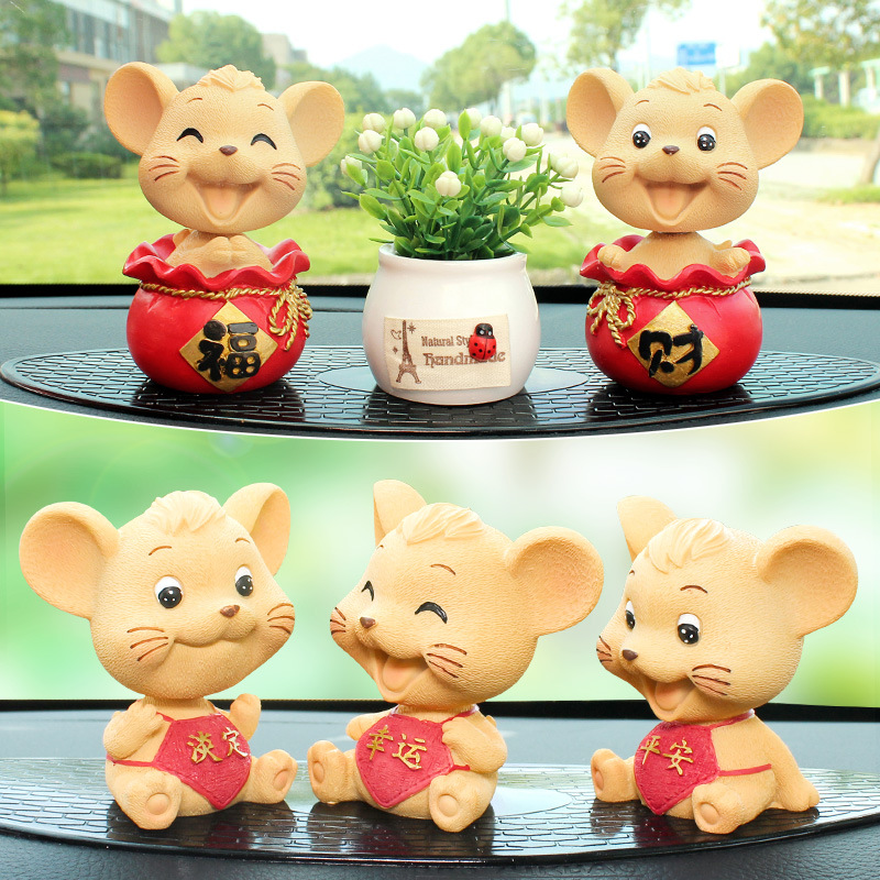 New Products Car Decoration Creative Car Mounted Accessories Cute Rotating Rat Cool Decoration Cartoon Car Interior Trim