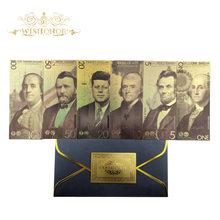 Nowy 2020 6 sztuk/partia ameryka banknoty 1 5 10 20 50 100 dolar banknoty w 24k pozłacane fałszywe pieniądze pozłacane Business Gift