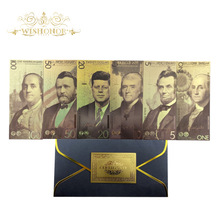 New 2020 6pcs/lot America Banknotes 1 5 10 20 50 100 Dollar Banknotes in 24k Gold Plated Fake Money Gold Plated Business Gift