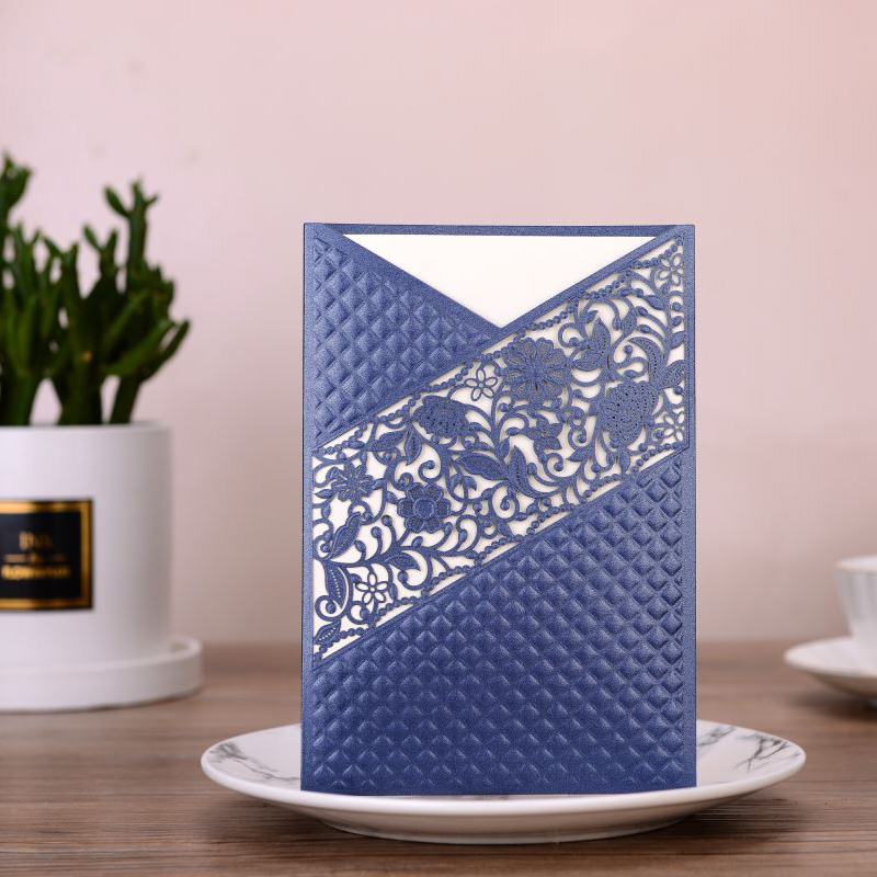 1pcs Blue Sample Laser Cut Flora Wedding Invitations Card Lace Rose Greeting Cards Customize Birthday Wedding Party Decoration