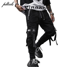 Guo-Chao Tang 2019 New Hipster Hip-hop Casual Male Zipper Pocket Tapered Pants Slim Stretch Streetwear Ribbon Men's Haren Pants guo chao tang 2019 new autumn irregularity color patchwork printed plaid men shirts hip hop casual ribbon male shirt streetwear