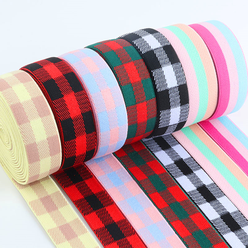 Lattice <font><b>Elastic</b></font> Bands <font><b>25MM</b></font> Stripe <font><b>Elastic</b></font> Ribbon for Headwear Clothing Bags Trousers Rubber Webbing DIY Sewing Accessories image