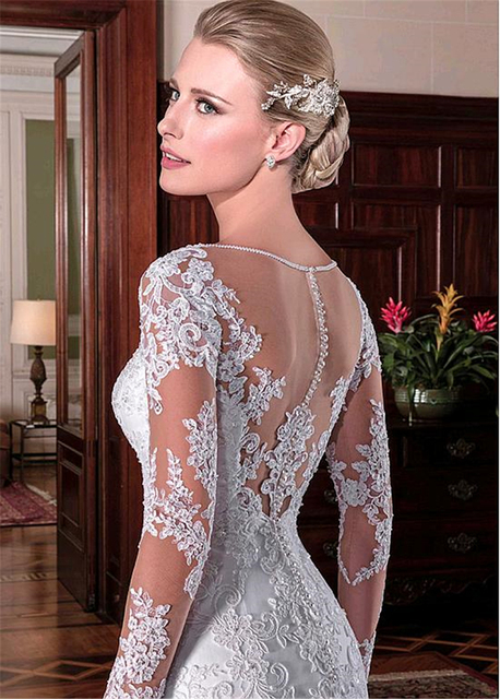 LAYOUT NICEB Mermaid Wedding Dress 2021 Illusion Back Vestido De Noiva Long Sleeve Beads O Neck Lace Appliques Bride Bridal Gown 2