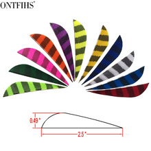 ONTFIHS 50Pcs 2.5inch Striped One Side Parabolic Archery Fletches Feather Natural Turkey Feathers Arrow fletching - Right WING 36 pcs ontfihs new 2 5inch archery fletches feather parabolic stripe plume turkey feathers arrow fletching for hunting shooting