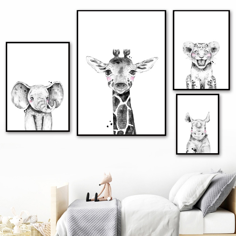 Elephant Giraffe Rhinoceros Zebra Leopard Wall Art Canvas Painting Nordic Posters And Prints Black White Pictures Kids Room