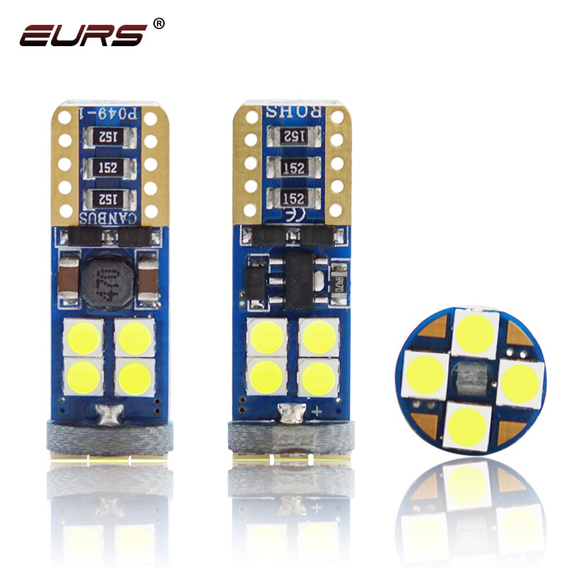50pcs T10 <font><b>Led</b></font> Canbus <font><b>W5W</b></font> <font><b>Led</b></font> Bulbs 194 3030 12SMD 6000K White Dome Reading License Plate Light Car Interior Light Auto <font><b>12V</b></font> image