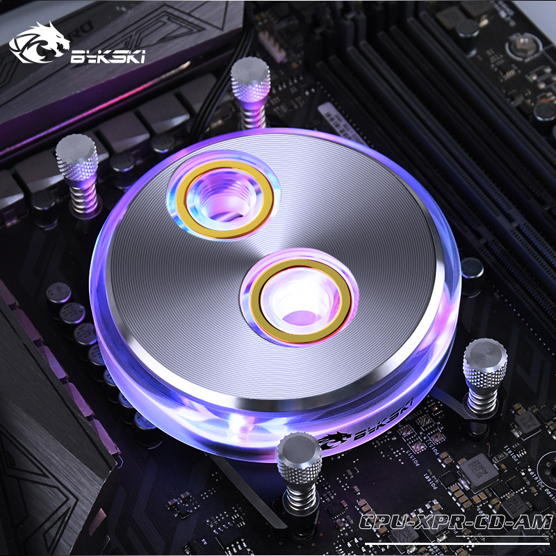 Bykski CPU-XPR-CD-AM CPU Water Cooling Block For Ryzen3/5/7/ThreadRippe RGB/RBW Lighting CD Pattern System Microwaterway I7