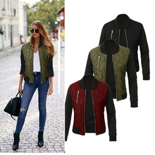 2019 new women Jacket  Autumn Winter Leisure Fashion O-neck Zipper Stitching Bomber jacket
