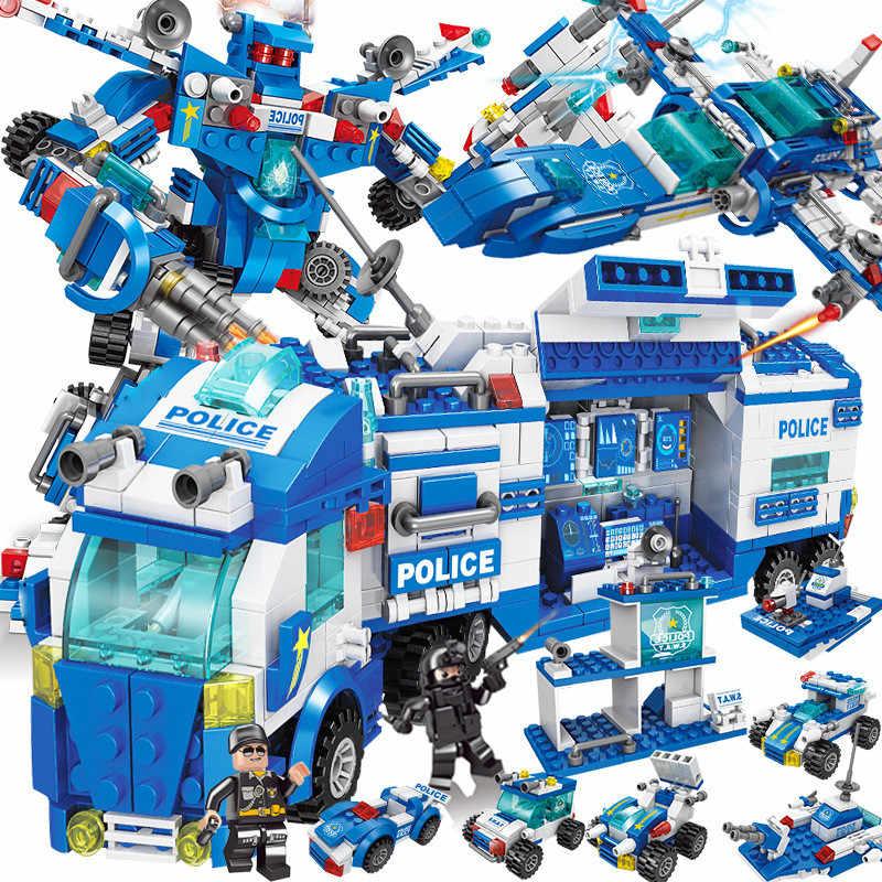 עיר משטרת SWAT רובוט צעצוע משאית רכב אבני בניין סטי LegoINGLs טכני פליימוביל Juguetes ילדים DIY לילדי