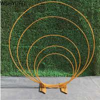 Casamento para festa de férias ferro forjado anel redondo arco porta artificial seda flor linha suporte prateleira parede decoração natal