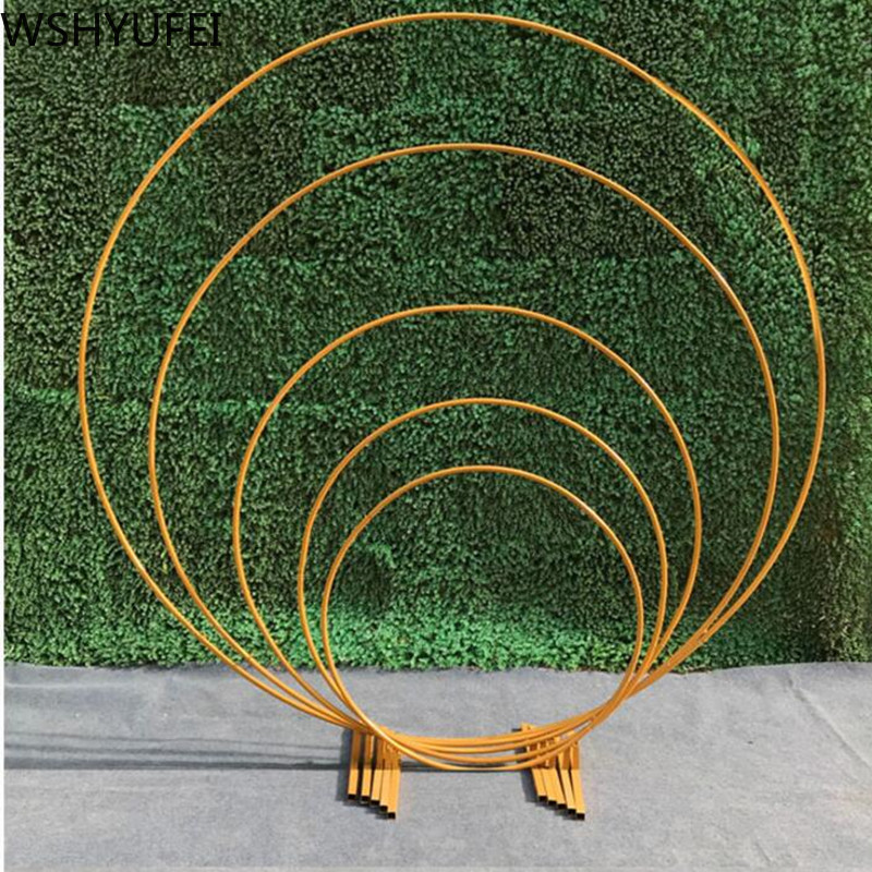 Wedding  For Holiday Party Wrought Iron Round Ring Arch Door Artificial Silk Flower Row Stand Wall Shelf Christmas Decoration