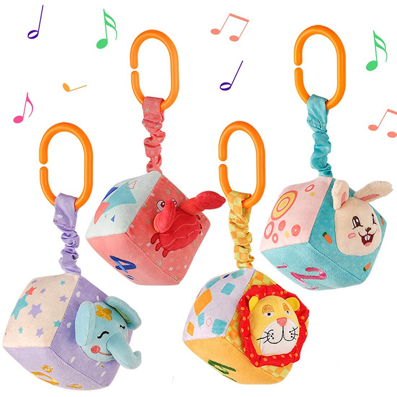 Baby Rattles Plush Hanging Mobiles Baby Toys Antibiosis No Dropping Educational Toys For Newborn Kids Toy 4Pcs