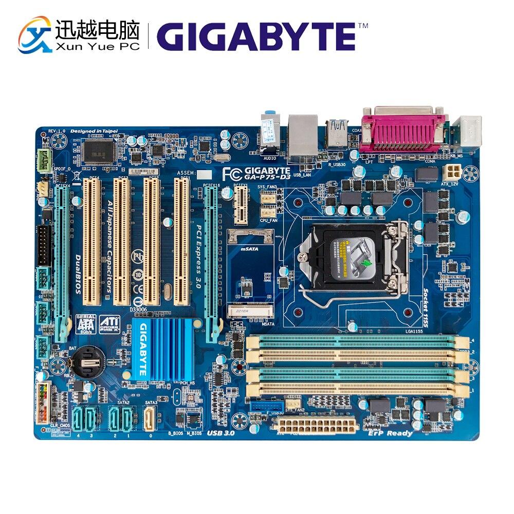 Gigabyte GA-P75-D3 Desktop Motherboard P75-D3 B75 LGA 1155 Core I7 I5 I3 DDR3 32G SATA3 USB3.0 ATX