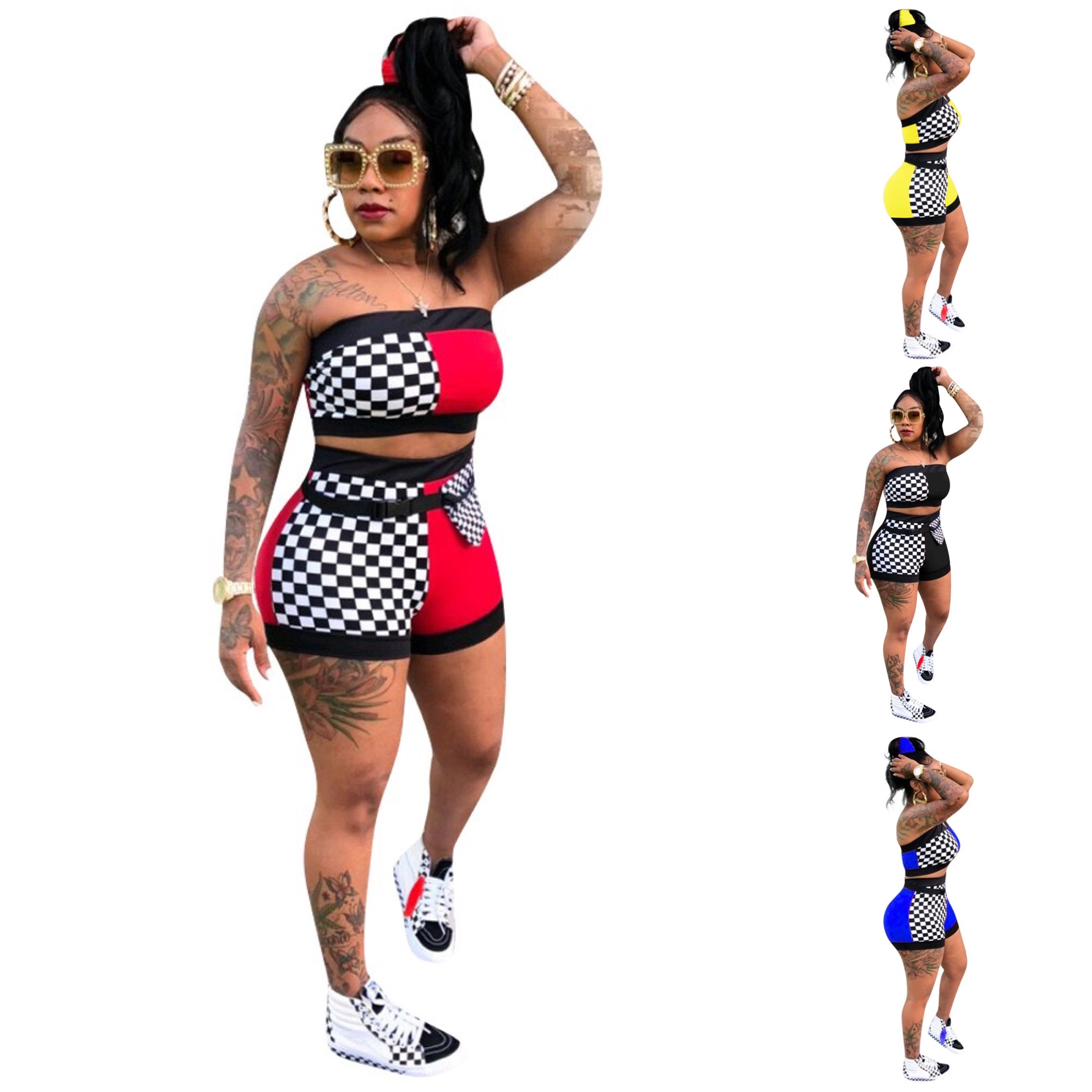 2020 New Summer Women's Plus Size Summer Two Piece Set Crop Top And Shorts Set 2 Piece Set Club Outfits Matching Sets
