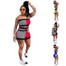 Conjunto 2 peças top cropped e shorts feminino, conjunto duas peças top cropped e short para clube verão 2020 conjunto combinando roupas
