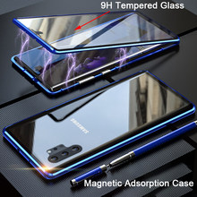 360 Adsorpsi Magnetik Case untuk Samsung Galaxy S10 5G S8 S9 Plus Catatan 10 Plus 9 8 Tempered kaca Depan Penutup Belakang Case(China)