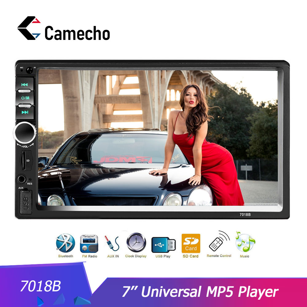 Camecho Bluetooth Car Stereo 2 Din 7-inch Touch Screen Car Video Player Mirror Link for IOS//Android Phone with USB//AUX//SD Card Slot Rear View Camera /& Steering Wheel Remote Control
