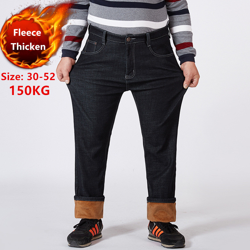 Winter Jeans Men Warm Denim Plus Size 42 46 48 50 52 150KG Black Pants Elastic High Waisted Men's Fleece Trousers Thicken Jean