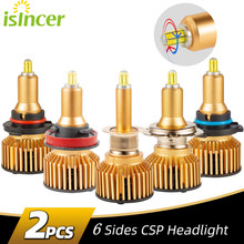 Super brilhante h7 conduziu 6 lâmpada lateral do farol do carro 360 ° csp 12000lm h1 h11 h8 h9 9005 hb3 9006 hb4 6000k lâmpadas de carro de alta potência